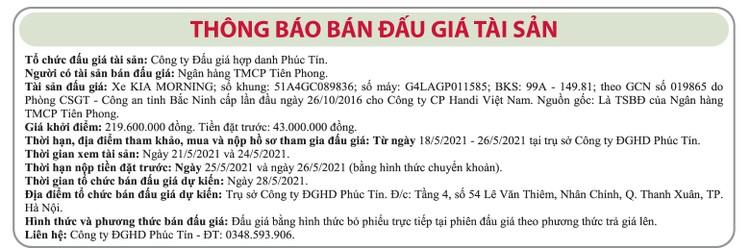 Ngày 28/5/2021, đấu giá xe ô tô Kia tại Hà Nội ảnh 1