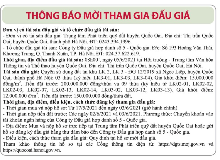 Ngày 5/6/2021, đấu giá quyền sử dụng đất tại huyện Quốc Oai, Hà Nội ảnh 1