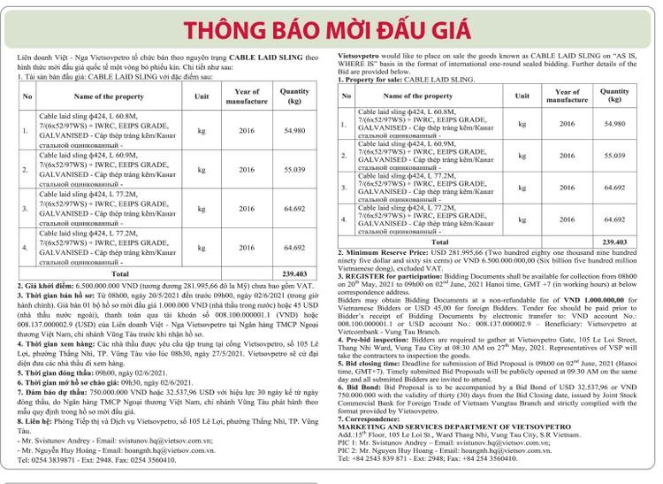Ngày 2/6/2021, đấu giá Cable Laid Sling tại tỉnh Bà Rịa – Vũng Tàu ảnh 1