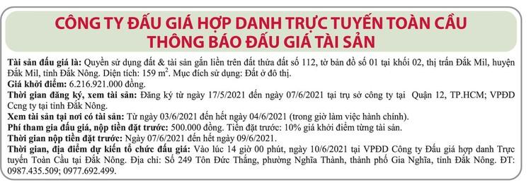 Ngày 10/6/2021, đấu giá quyền sử dụng đất tại huyện Đắk Mil, tỉnh Đắk Nông ảnh 1