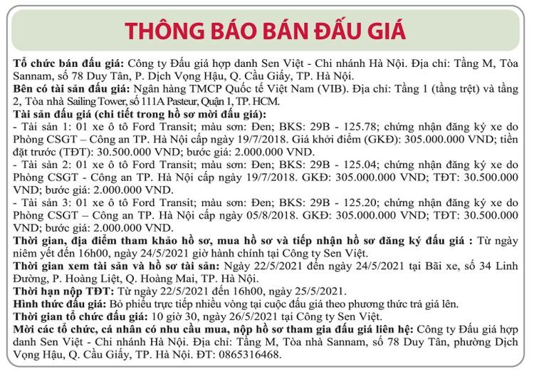Ngày 26/5/2021, đấu giá 3 xe ô tô tại Hà Nội ảnh 1