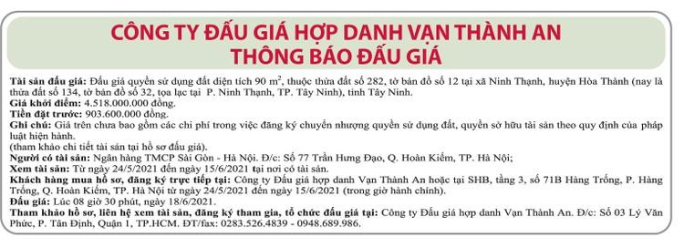 Ngày 18/6/2021, đấu giá quyền sử dụng đất tại TP.Tây Ninh, tỉnh Tây Ninh ảnh 1