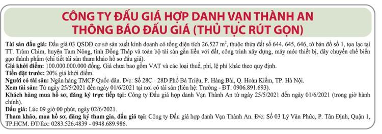 Ngày 2/6/2021, đấu giá quyền sử dụng đất tại huyện Tam Nông, tỉnh Đồng Tháp ảnh 1