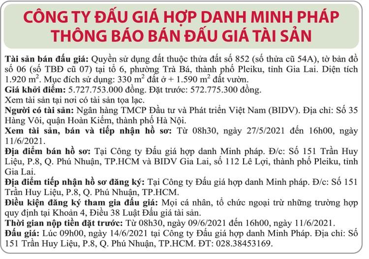 Ngày 14/6/2021, đấu giá quyền sử dụng đất tại thành phố Pleiku, tỉnh Gia Lai ảnh 1