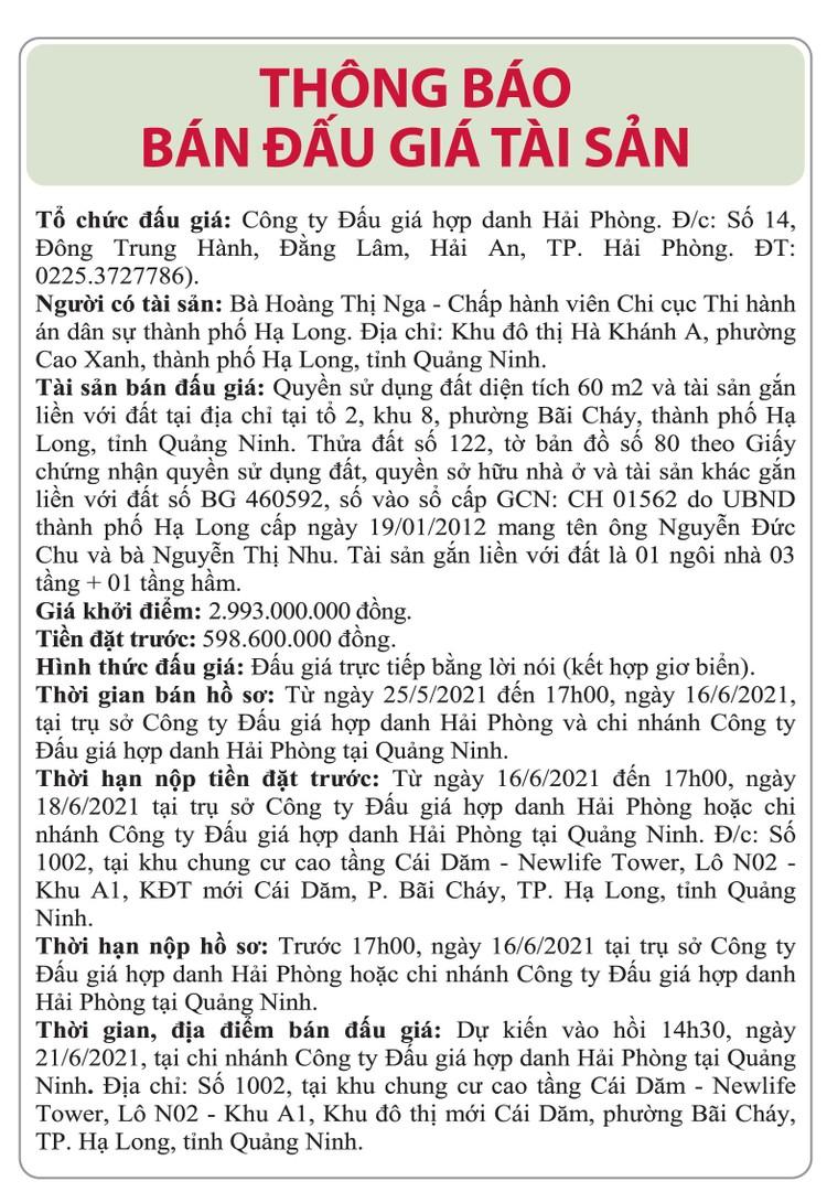 Ngày 21/6/2021, đấu giá quyền sử dụng đất tại TP. Hạ Long, tỉnh Quảng Ninh ảnh 1