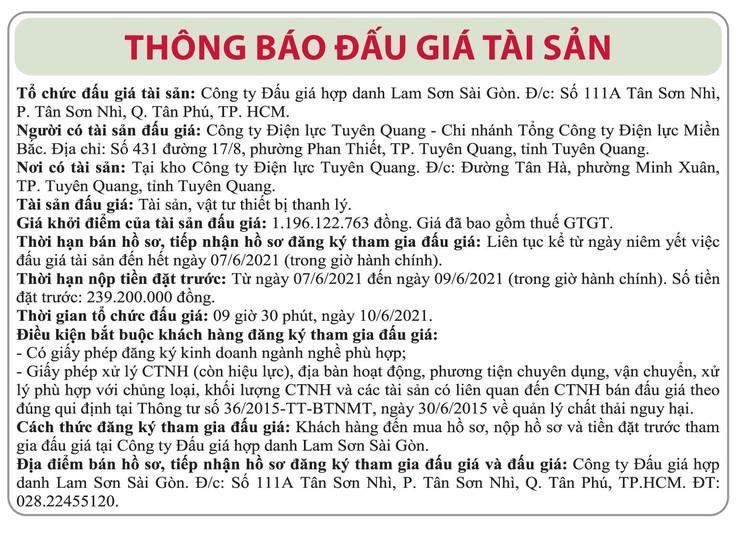 Ngày 10/6/2021, đấu giá tài sản, vật tư thanh lý tại tỉnh Tuyên Quang ảnh 1
