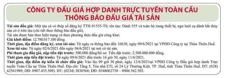 Ngày 12/6/2021, đấu giá tàu cá vỏ thép tại tỉnh Thừa Thiên Huế ảnh 1