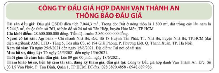 Ngày 18/6/2021, đấu giá quyền sử dụng đất tại huyện Hóc Môn, TP.HCM ảnh 1