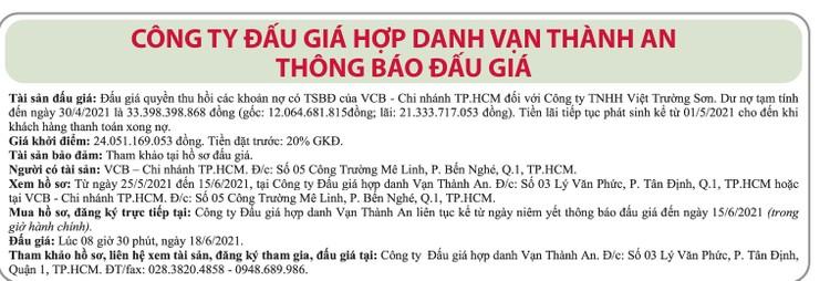 Ngày 18/6/2021, đấu giá quyền thu hồi các khoản nợ của VCB Chi nhánh TP.HCM đối với Công ty TNHH Việt Trường Sơn ảnh 1