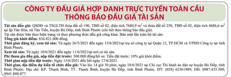 Ngày 18/6/2021, đấu giá quyền sử dụng đất tại huyện Bù Đốp, tỉnh Bình Phước ảnh 1