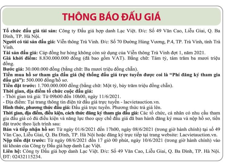 Ngày 11/6/2021, đấu giá cáp đồng hư hỏng tại tỉnh Trà Vinh ảnh 1