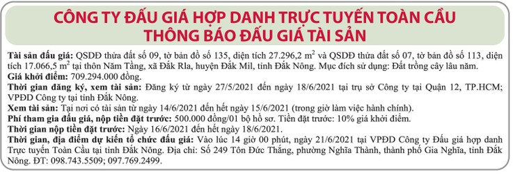Ngày 21/6/2021, đấu giá quyền sử dụng đất tại huyện Đắk Mil, tỉnh Đắk Nông ảnh 1