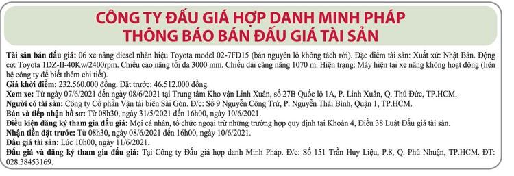 Ngày 11/6/2021, đấu giá 6 xe nâng Toyota tại TP.HCM ảnh 1
