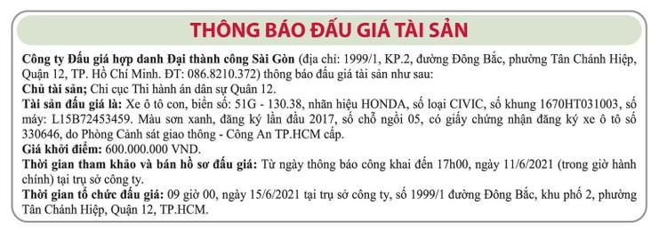 Ngày 15/6/2021, đấu giá xe ô tô Honda tại TP.HCM ảnh 1