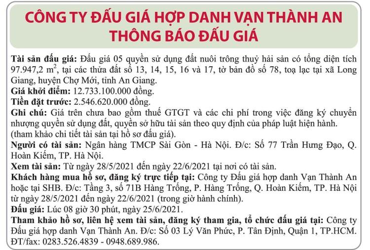 Ngày 25/6/2021, đấu giá quyền sử dụng đất tại huyện Chợ Mới, tỉnh An Giang ảnh 1