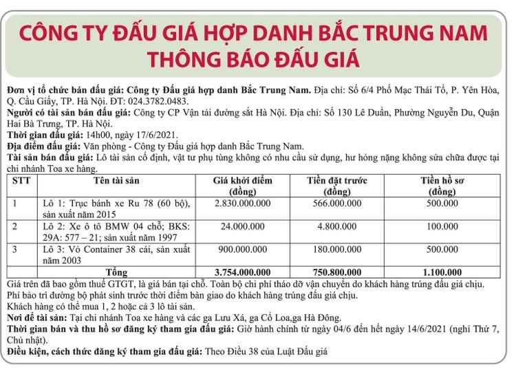 Ngày 17/6/2021, đấu giá tài sản, vật tư phụ tùng không có nhu cầu sử dụng tại Hà Nội ảnh 1