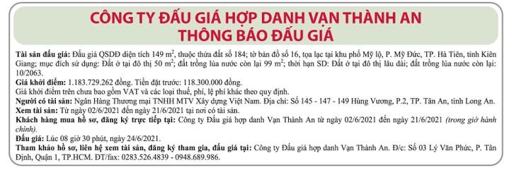 Ngày 24/6/2021, đấu giá quyền sử dụng đất tại TP.Hà Tiên, tỉnh Kiên Giang ảnh 1