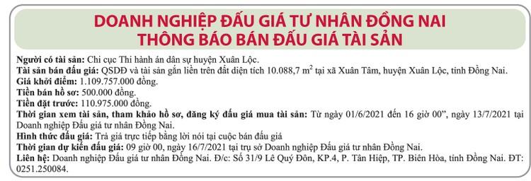Ngày 16/7/2021, đấu giá quyền sử dụng đất tại huyện Xuân Lộc, tỉnh Đồng Nai ảnh 1