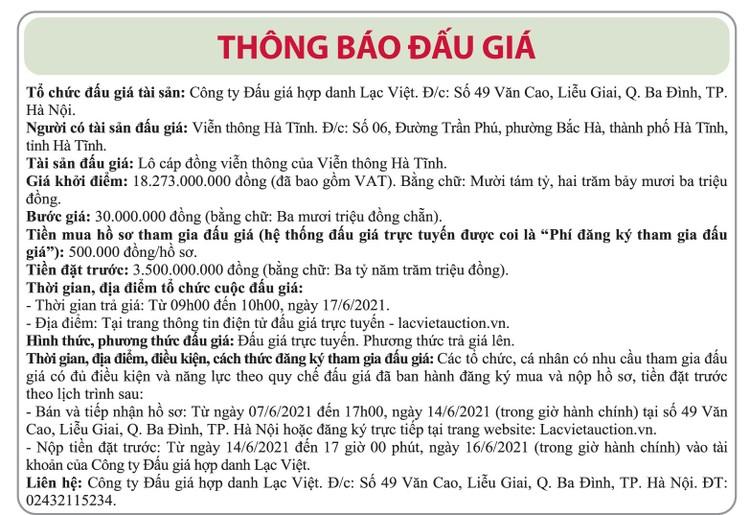 Ngày 17/6/2021, đấu giá lô cáp đồng tại tỉnh Hà Tĩnh ảnh 1