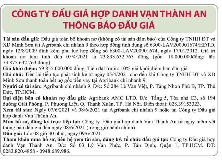 Ngày 9/6/2021, đấu giá khoản nợ của Công ty TNHH ĐT và XD Minh Sơn tại Agribank Chi nhánh 9 ảnh 1