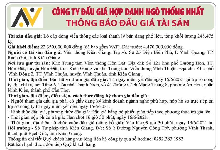 Ngày 19/6/2021, đấu giá lô cáp đồng các loại thanh lý tại tỉnh Kiên Giang ảnh 1