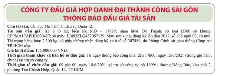 Ngày 18/6/2021, đấu giá xe ô tô tải Đô Thành tại TP.HCM ảnh 1