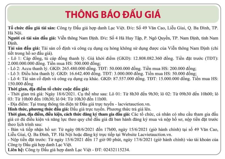 Ngày 18/6/2021, đấu giá cáp đồng, tủ cáp, Accu, điều hòa tại tỉnh Nam Định ảnh 1