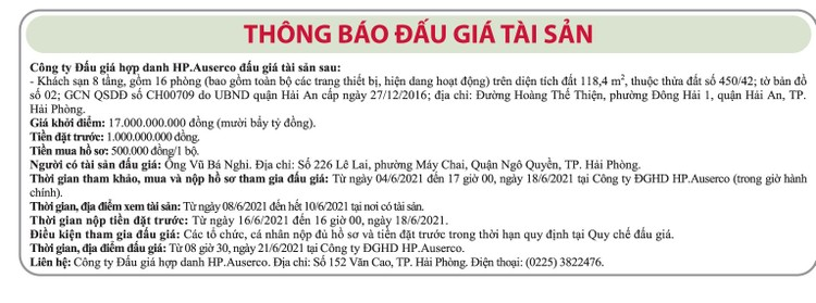 Ngày 21/6/2021, đấu giá khách sạn 8 tầng tại quận Hải An, TP.Hải Phòng ảnh 1