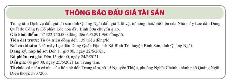 Ngày 25/6/2021, đấu giá vật tư hỏng thải tại tỉnh Quảng Ngãi ảnh 1