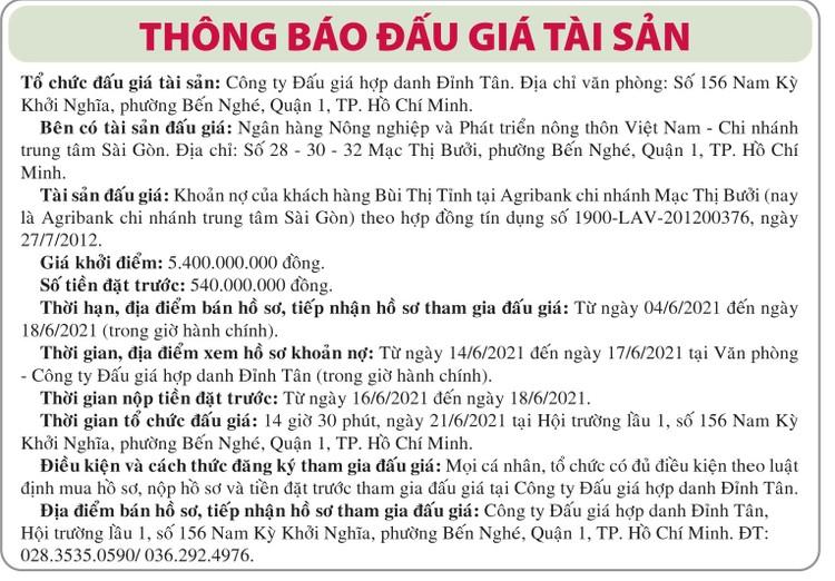Ngày 21/6/2021, đấu giá khoản nợ của khách hàng Bùi Thị Tỉnh tại Agribank Chi nhánh trung tâm Sài Gòn ảnh 1