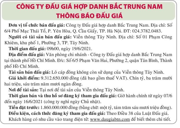 Ngày 19/6/2021, đấu giá lô cáp đồng tại tỉnh Tây Ninh ảnh 1
