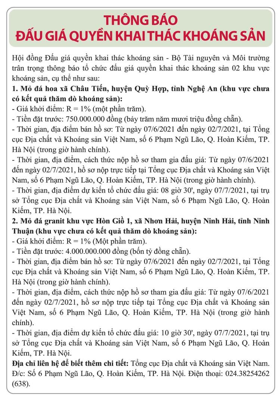 Ngày 7/7/2021, đấu giá quyền khai thác khoáng sản tại tỉnh Nghệ An và Ninh Thuận ảnh 1