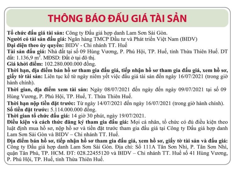 Ngày 19/7/2021, đấu giá nhà đất tại TP.Huế, tỉnh Thừa Thiên Huế ảnh 1