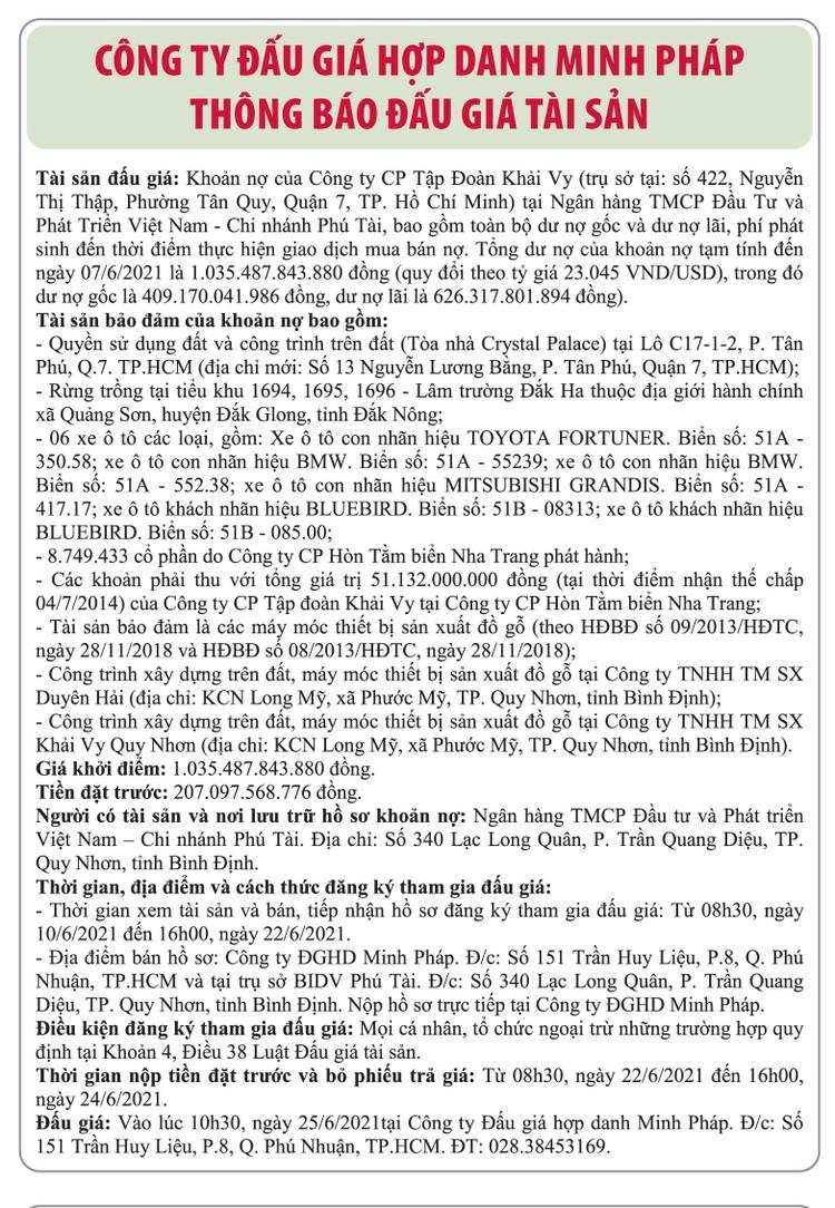 Ngày 25/6/2021, đấu giá khoản nợ của Công ty CP Tập đoàn Khải Vy tại BIDV Chi nhánh Phú Tài ảnh 1