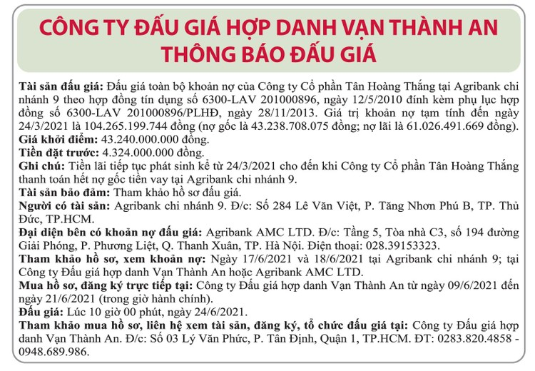 Ngày 24/6/2021, đấu giá khoản nợ của Công ty CP Tân Hoàng Thắng tại Agribank Chi nhánh 9 ảnh 1