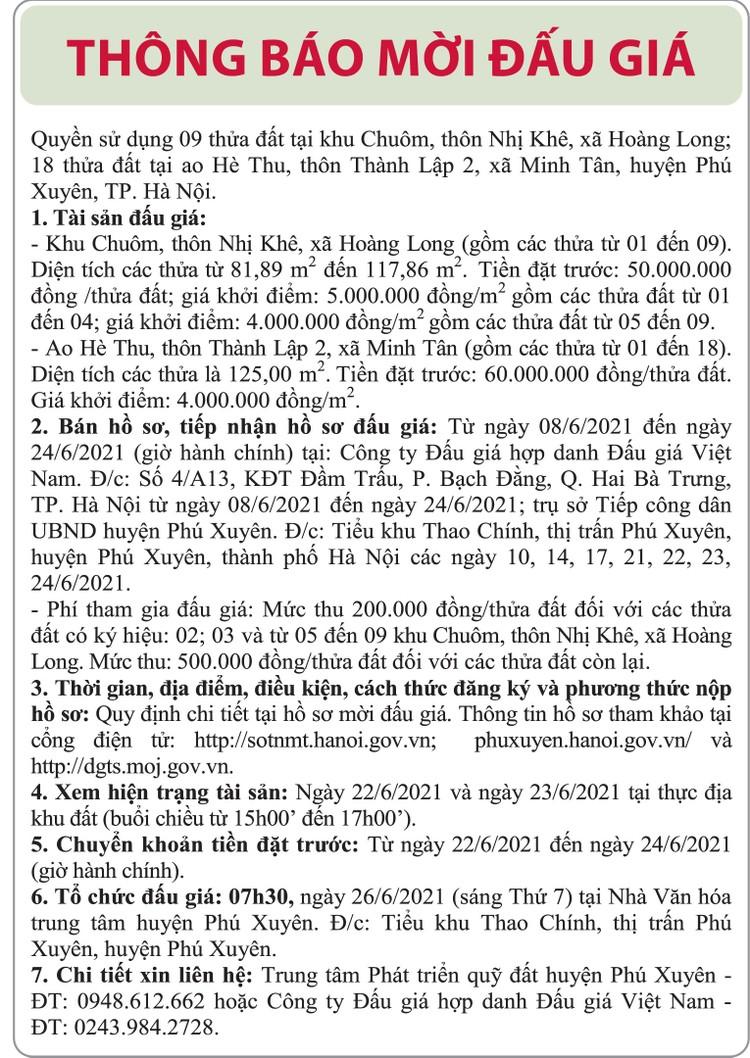 Ngày 26/6/2021, đấu giá quyền sử dụng đất tại huyện Phú Xuyên, Hà Nội ảnh 1