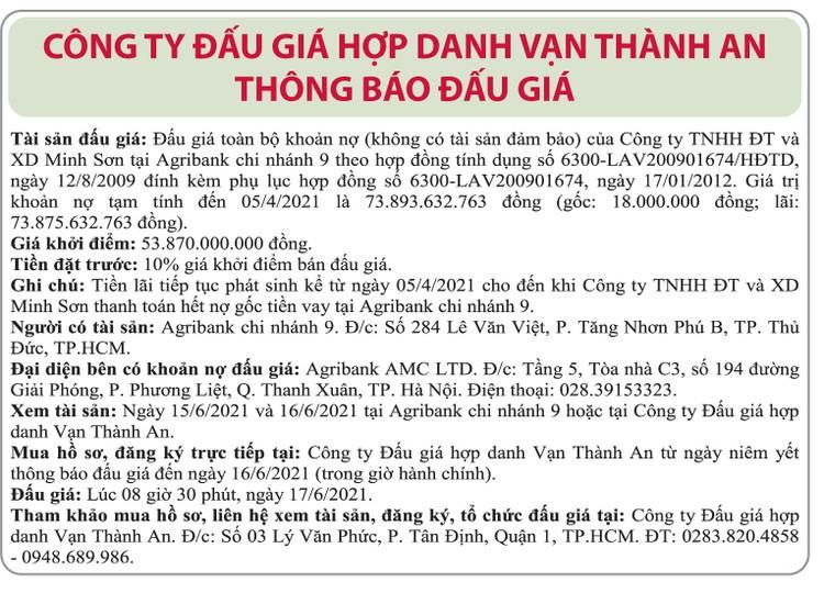 Ngày 17/6/2021, đấu giá khoản nợ của Công ty TNHH ĐT và XD Minh Sơn tại Agribank Chi nhánh 9 ảnh 1