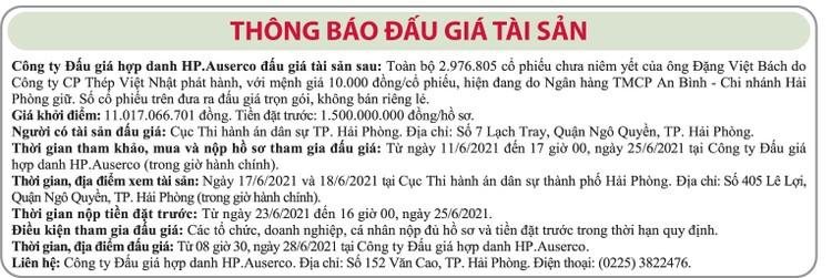 Ngày 28/6/2021, đấu giá toàn bộ 2.976.805 cổ phiếu Công ty CP Thép Việt Nhật ảnh 1