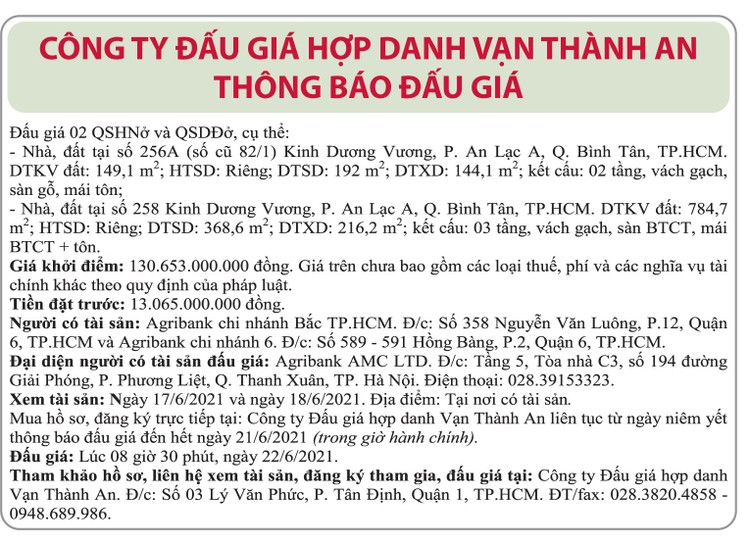 Ngày 22/6/2021, đấu giá nhà đất tại quận Bình Tân, TP.HCM ảnh 1