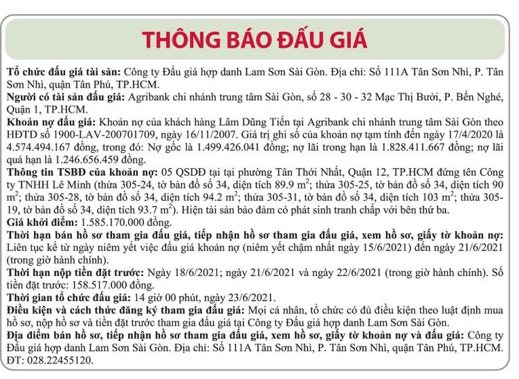 Ngày 23/6/2021, đấu giá khoản nợ của khách hàng Lâm Dũng Tiến tại Agribank Chi nhánh trung tâm Sài Gòn ảnh 1