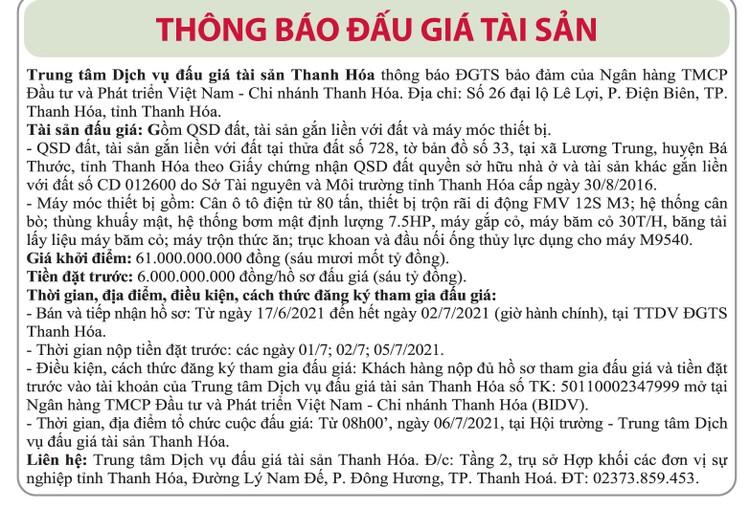 Ngày 6/7/2021, đấu giá quyền sử dụng đất và máy móc thiết bị tại huyện Bá Thước, tỉnh Thanh Hóa ảnh 1