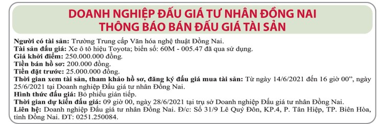 Ngày 28/6/2021, đấu giá xe ô tô Toyota tại tỉnh Đồng Nai ảnh 1
