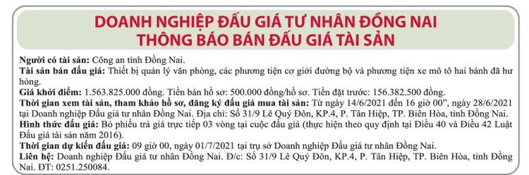 Ngày 1/7/2021, đấu giá thiết bị văn phòng, các phương tiên cơ giới tại tỉnh Đồng Nai ảnh 1