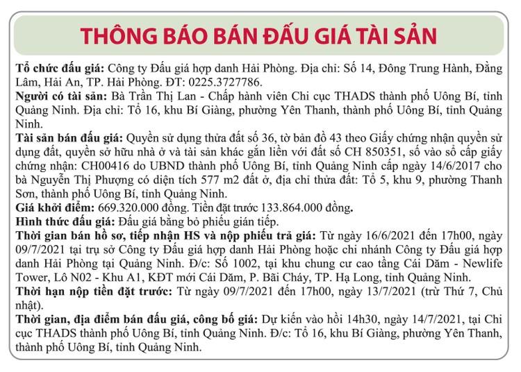 Ngày 14/7/2021, đấu giá quyền sử dụng đất tại thành phố Uông Bí, tỉnh Quảng Ninh ảnh 1