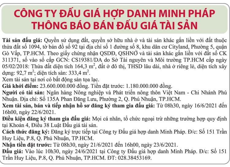 Ngày 24/6/2021, đấu giá quyền sử dụng đất tại quận Gò Vấp, TP.HCM ảnh 1