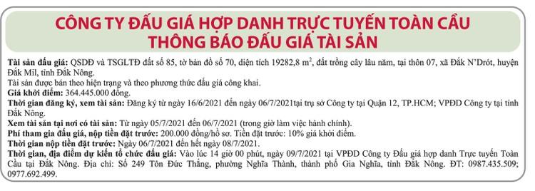 Ngày 26/6/2021, đấu giá quyền sử dụng đất tại huyện Đắk Mil, tỉnh Đắk Nông ảnh 1