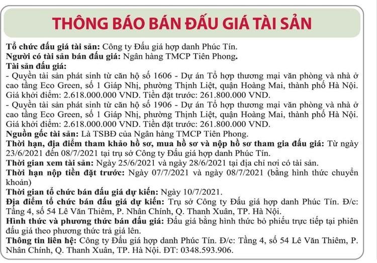 Ngày 10/7/2021, đấu giá quyền tài sản phát sinh từ căn hộ tại quận Hoàng Mai, Hà Nội ảnh 1