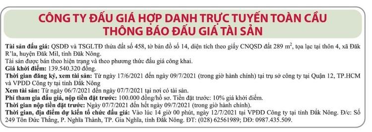 Ngày 12/7/2021, đấu giá quyền sử dụng đất tại huyện Đắk Mil, tỉnh Đắk Nông ảnh 1
