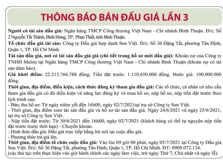 Ngày 5/7/2021, đấu giá khoản nợ của Công ty TNHH Melon tại Vietinbank Chi nhánh Bình Thuận ảnh 1