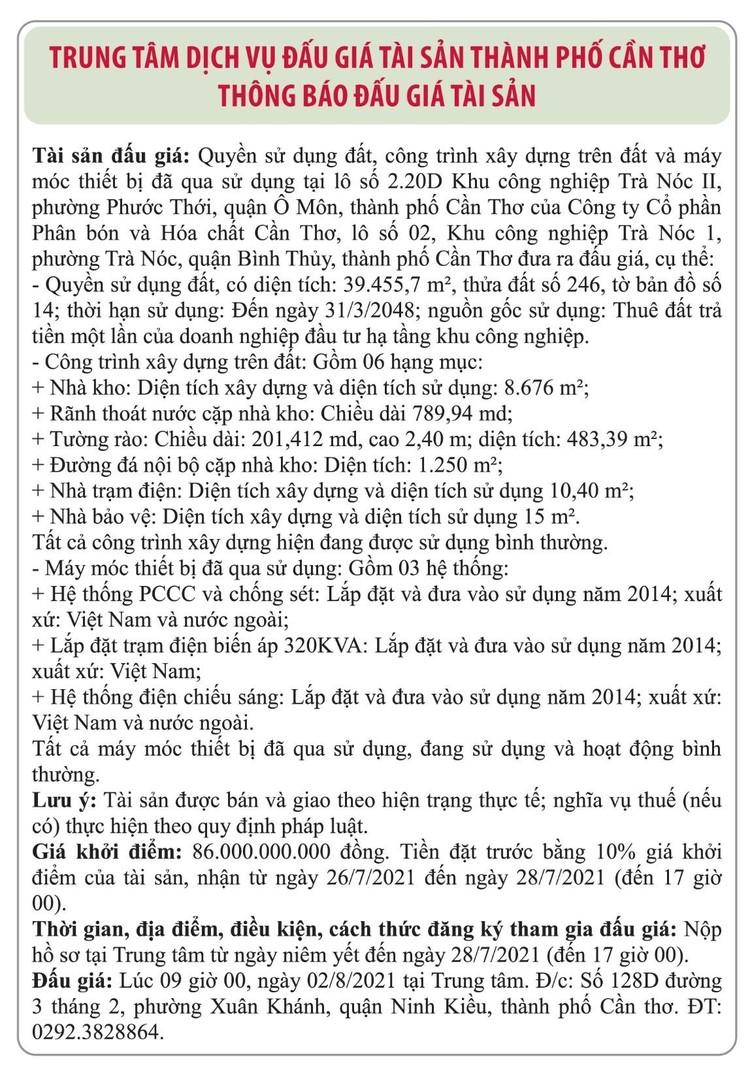 Ngày 2/8/2021, đấu giá quyền sử dụng đất tại quận Ô Môn, thành phố Cần Thơ ảnh 1